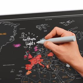 Mapa De Raspadinha Chalk - Escreva E Apague - Com Caneta