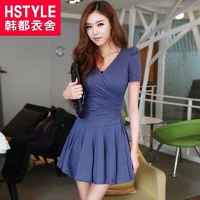 Vestido Azul Algodón Diseño Coreano Talla M/l Only Girl