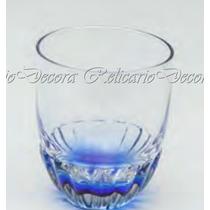 Jg 6 Copos Craquelados Para Whisky De 355ml Azul Cristal