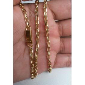 Cordão Cadeadinho 3mm Banhado A Ouro 18k - Fecho De Gaveta