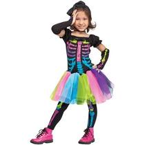Disfraz Para Niña Funky Punky Huesos Traje De Los Niños
