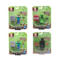 Lote 4 Figuras Minecraft Steve, Creeper, Enderman E Zombie