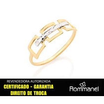 Anel Rommanel Liso Quadrados Vazados Ouro Rhodium 510002