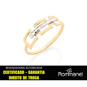 Anel Rommanel Liso Quadrados Vazados Rhodium 510002