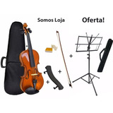 Kit Violino 4/4 Arco Breu Case Espaleira Estante C/ Case
