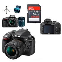 Câmera Nikon D3300 Lente 18-55 Af-p +64gb Cl10 +bolsa +tripé