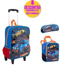 Kit Escolar Mochila Rodinhas Hot Wheels 64670hw - Catmania