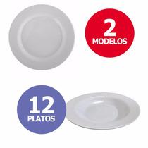 Set 12 Platos Plásticos Melamina Blancos - Hondos Ó Playos