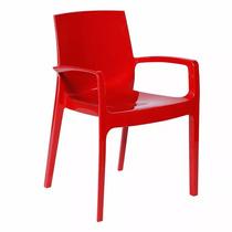 Cadeira De Jantar Cozinha Polipropileno Cream Com Braço