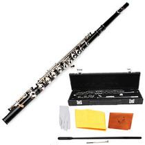 Flauta Transversal Negra Estuche Traversal Orificio Cerrado