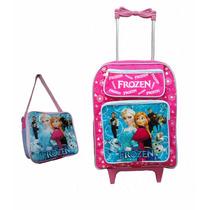 Mochila Escolar Infantil Frozen Lancheira Rodinhas Cod 02