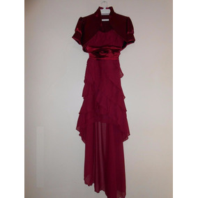 Vestido Elegante Color Vino Tinto Talla M