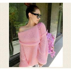 Sweater Pullover Tejido Artesanal Hombros Descubiertos