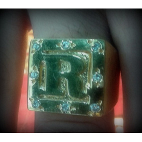 Anel Dedeira Letra Banhado A Ouro C/pedras - Todas As Letras