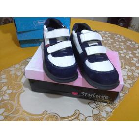Zapatos Deportivos De Niño De Cuero Talla 31 Azul Con Blanco
