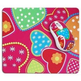 Kit Mouse Usb E Mouse Pad Coração Tons Rosa Para Note E Pc