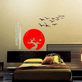 Adesivo Decorativo De Parede Oriental Bonsai Pássaros Lua