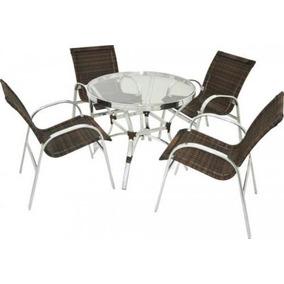 Conjunto Mesa E Cadeira Poltrona Alumínio E Fibra Sintética