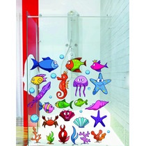 Adesivo Decoração Porta Box Banheiro Kit Mar Peixe Bolha