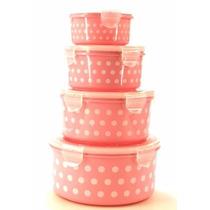 Conjunto Com 4 Potes Para Mantimentos Poá Rosa