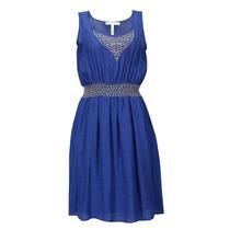 Vestido Bordado Sin Manga Dama Mujer Azul 8725 Zoara