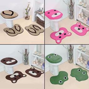 Jogo Tapete Banheiro Infantil 3 Pçs Pelúcia Vários Modelos