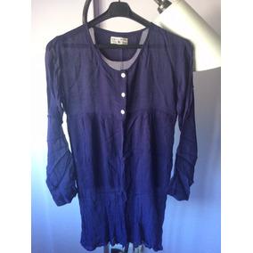 Camisola Blusa Camisa Mujer De Gasa Azul Manga Larga Talle M