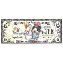 Billete U$ 5 Disney Dollars Sin Circular Con Sobre Palermo