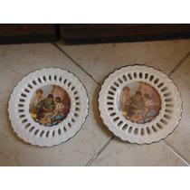 Par De Platitos Calados Fabricados En Ceramica