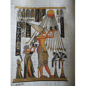 Papiro Egipcio Akhenaton E Nefertiti Venerando Aton Deus Sol