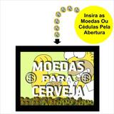 Quadro Cofre Criativo Moedas Para Cerveja Em Madeira Cf13