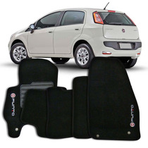 Tapete Carpete Bordado Fiat Punto 2013 2014 2015 Preto