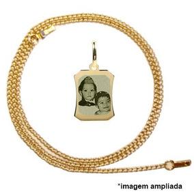 Pingente Banhado A Ouro Foto Gravada, Corrente, Dia Das Mães