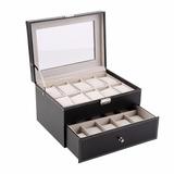 Caja Organizadora 20 Relojes En Cuero Elegante Regalar