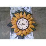 Reloj Girasol De Pared Cerámica Artesanal 29 Cm Diámetro