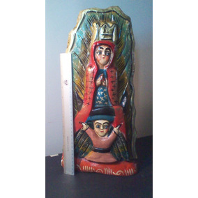 Virgen Guadalupe En Madera Tallada 45x15cm