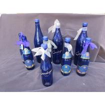 Lote De 9 Botellas De Vidrio Color Azul