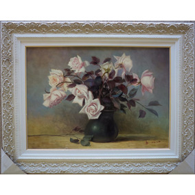 Pintura De Rosas-óleo Sobre Tela De Irisney Bosco. Moldura