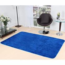 Tapete Sala Quarto Liso Azul Pelucia 2,00m X 1,40m Promoção