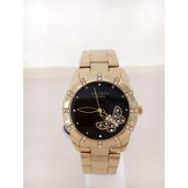 Relógio Feminino Atlantis Dourado Luxo Frente Grátis