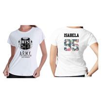 Camiseta Camisa Kpop Personalizada Grupo Bts Com Nome Flor 1