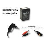 Kit Bateria 6v 4ah + Carregador - Moto Elétrica Bandeirantes