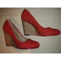 Zapatos Gacel De Cuero Nobuck Taco Chino N º 38. Rojo.
