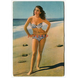 Antigua Postal Argentina Playa Foto Pin Up Mujer En Bikini