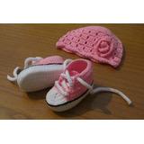 Gorro Y Zapatillas Tejidas A Mano Para Bebés - Regalos Ajuar