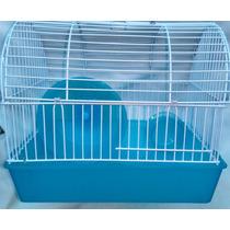 Jaula Hamster Metálica Con Rueda Y Comedero. 30 Cms Largo