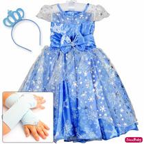 Vestido Elsa Frozen Princesa Luxo Festa Infantil Tiara Luvas