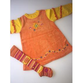 Vestido Infantil De Inverno + Meia Comprida Da Marisol