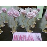 40 Souvenirs Rosa Con Pluma Y 15 Centros De Mesa