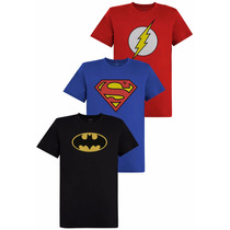 Kit De Camisetas Logo Dc Comics Batman The Flash Superman